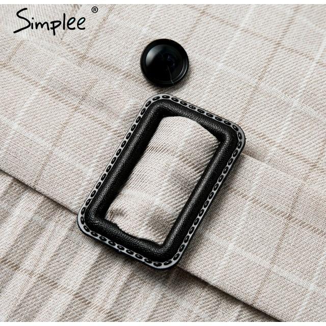 Simplee Vintage pleated belt plaid dress women Elegant office ladies blazer dresses Long sleeve female autumn midi party dress 10