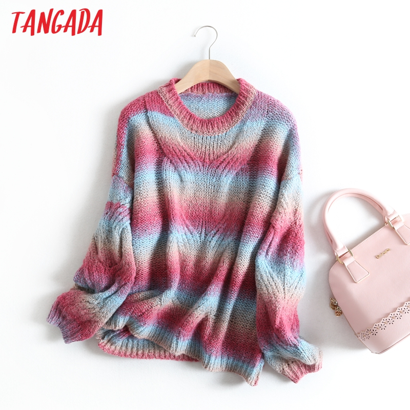 Tangada Women Gradient Oversized Jumper Sweater Korean Fashion Long Sleeve O Neck 2019 Winter Female Knitwear Tops BC51