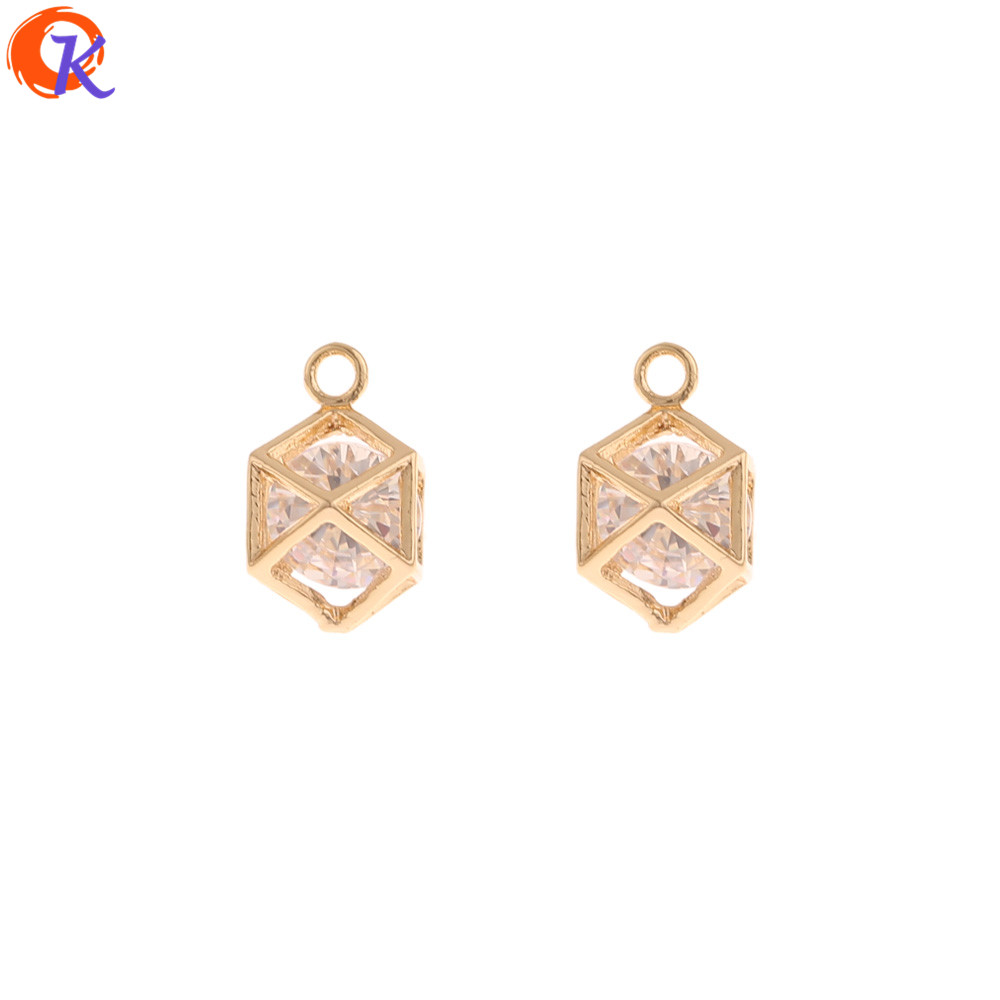 Cordial Design 30Pcs 8*13MM Pendant/Jewelry Accessories/DIY Making/Genuine Gold Plating/Hand Made/Earring Findings/CZ Charms
