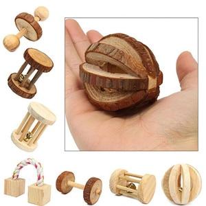 """Image 2 - Милые натуральные деревянные игрушки кролики сосновые гантели деревянная игрушка """"шар"""" роликовые игрушки Жвачки для морских свинок крысы маленькие домашние моляры"""