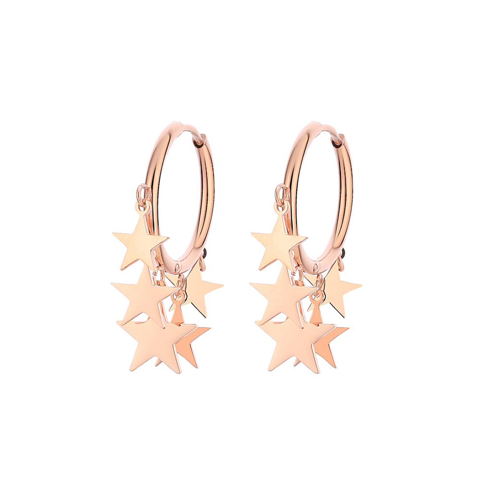 2020 Fashion Star Hoop Earrings Rose Gold Color High Quality Stainless Steel Jewelry Statement Surprise Gifts For Women Gioiell