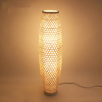 Bamboo Wicker Rattan Shade Vase Floor Lamp Fixture Rustic Asian Japanese Nordic Art Light Corridor Luminaria Fitting Luminaire