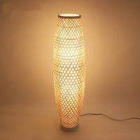 Bamboo Wicker Rattan Shade Vase Floor Lamp Fixture Rustic Asian Japanese Nordic Art Light Corridor Luminaria Fitting Luminaire