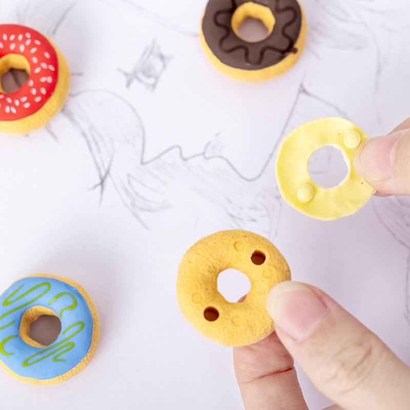 18packs/lot New Candy Color Donut Shape Rubber Stationery Kids Students Gift School Office Supplies For Pencil