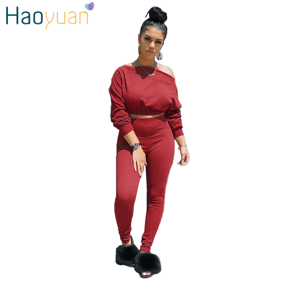 HAOYUAN Sexy Two Piece Set Tracksuit Women Festival Clothing Crop Top And Pant Suit 2 Piece Fall Winter Outfits Matching Sets