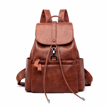 2019 Women Leather Backpacks High Quality Sac A Dos Female Large Capacity School Backpack Leather Ladies Solid Casual Daypack