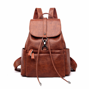 Image 1 - 2019 Women Leather Backpacks High Quality Sac A Dos Female Large Capacity School Backpack Leather Ladies Solid Casual Daypack
