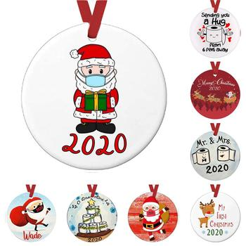 Fashion 2020 Christmas Snowman Santa Claus Ornaments Face Mask PET Hanging Round Pendants Family Party Home Decoration,1Piece image