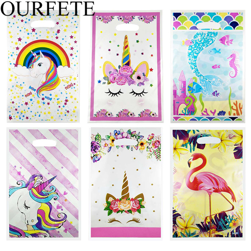 20pcs Unicorn Plastic Gift Bags Candy Bag Flamingo Disposable Bags Birthday Party Favors Children Theme Gift Wedding Decoration