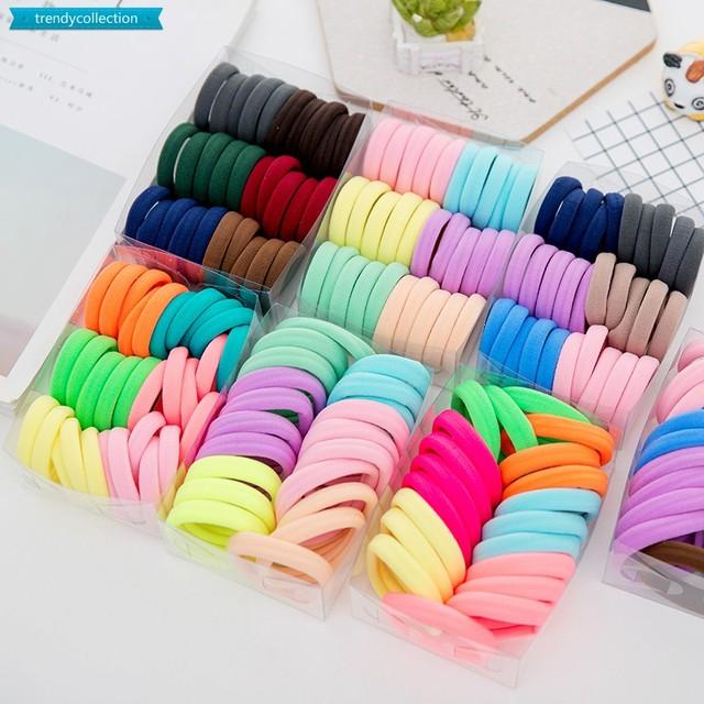 100Pcs Diameter 35MM High Elastic Hair Bands for Women Girls Hairband Ponytail Holder Rubber Scrunchies
