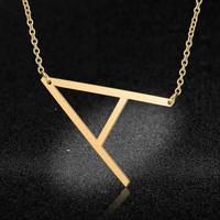 100% acier inoxydable nom Initial pendentif collier pour les femmes en gros Alphabet A-Z 26 lettre mode colliers livraison directe