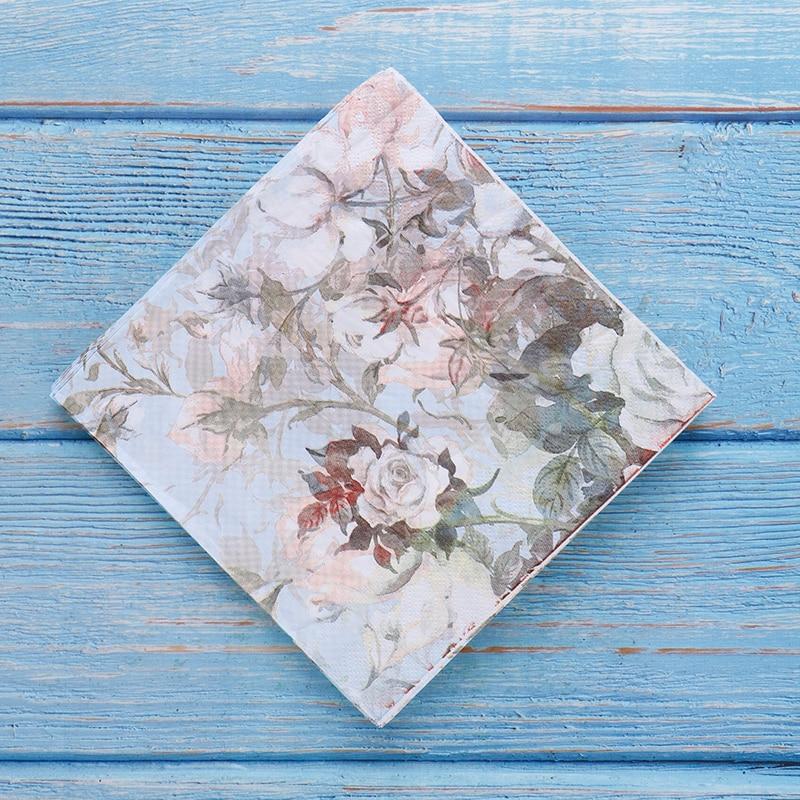 1Bag/20pcs Fashion Tableware Tissue  Printed Feature Rose Paper Napkins Wholesale