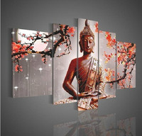 Hand painted 5 Pieces Buddha Oil Painting Modern Canvas Wall Art Abstract Wall Painting Artwork for Home Living Room Wall Décor