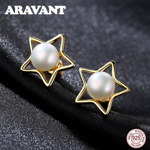 New Fashion 925 Sterling Silver Star Stud Earrings Women Jewelry Pearl 8mm