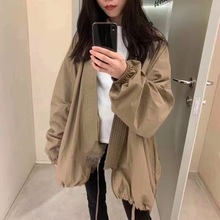 2019 Early Autumn Coat New Low Neck Loose Wrapped Lace Casual for Women V-Neck Belt Fashion Black Long Woman