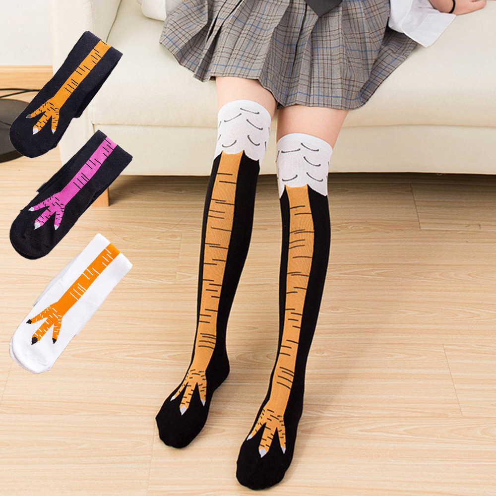 Warm Fashion Animal Print Socks Funny High Tube Chicken Claw Pattern Funny Woman Socks Thigh Calf High Fun Winter Socks Cotton
