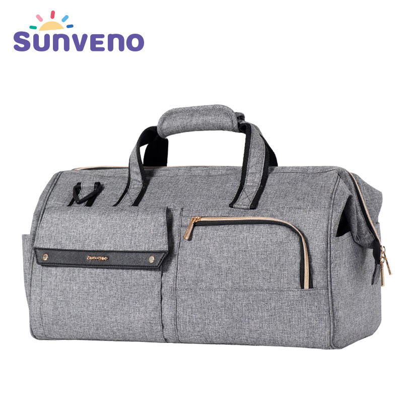 Sunveno Diaper Bag 34L Large Capacity Baby Nappy Bag Waterproof Fashion Mother Shoulder Bag Maternity Baby Travel Bag 3in1