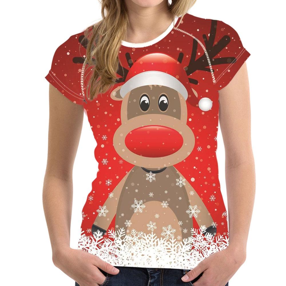 Xmas T Shirts For Women Casual Tshirt Breathable Funny Reindeer Print Short Sleeve Tee Shirt Girls Brand O-Neck Women T-Shirts