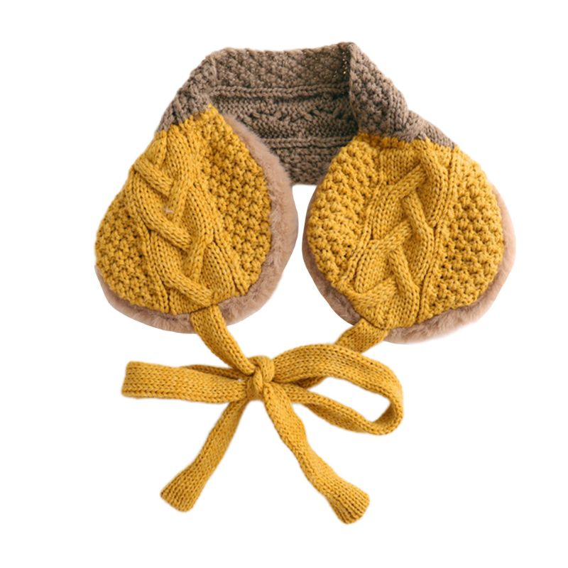 Fashion Lovely Girls Boys Earmuffs Wool Thread Children Dual-use Knitted Scarf LX9E