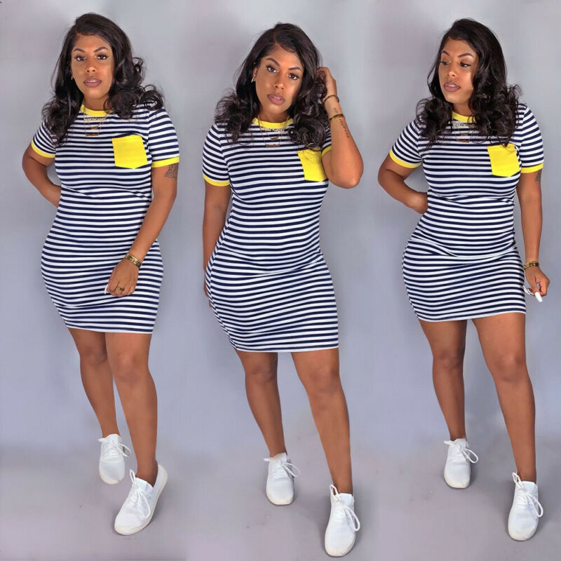 Womens Clubwear Holiday Dress 2019 Summer Autumn Beach Dress Shorts Stripe Mini Dresses Package Hip Skinny Casual Dress Girls