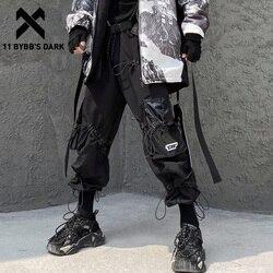 Мужские свободные брюки-карго 11 byb's DARK, повседневные уличные Джоггеры в стиле хип-хоп, свободные шаровары с несколькими карманами, 2019