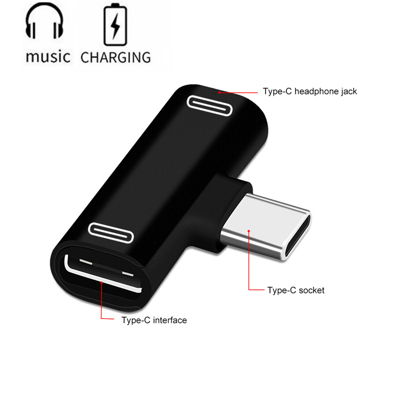 Dual Type C USB-C Earphone Headphone Audio Charging Charger Adapter Splitter Convertor For Xiaomi For Huawei Dropshipping