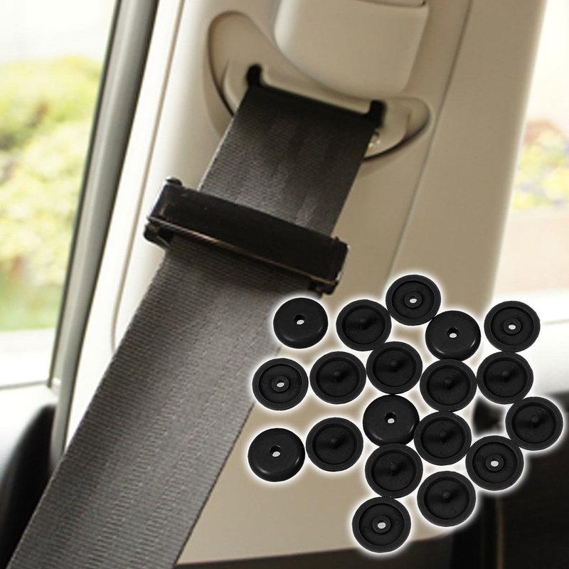 10pcs Plastic Safety Car Safety Seat Belt Stopper Spacing Limit Buckle Clip Retainer Seatbelt Stop Button