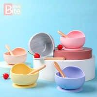 Bébé Silicone bol vaisselle ensemble cuillère de qualité alimentaire Perle Silicone alimentaire vaisselle pour enfant ventouse fixation marchandises pour enfants jouet