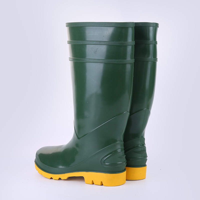 Steel Head Steel Insole Protection Boots Labor Safety Anti-Corrosive Gong Kuang Xue PCV Anti-slip Wear-Resistant Hight-top Fishi