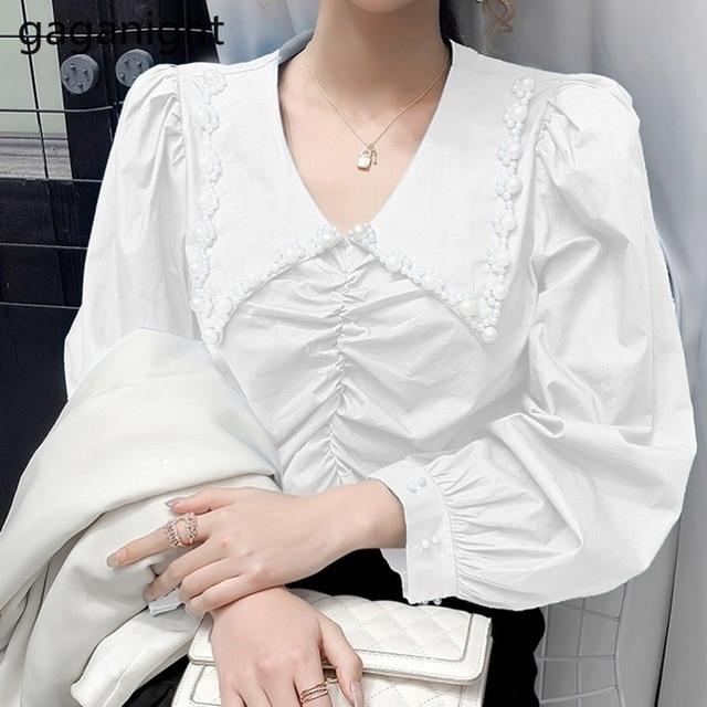 Gaganight Fashion Women Beading Blouse Solid Long Sleeve Shirt Office Lady Spring Autumn Blusas Chic Korean Blouses Slim Shirts 2