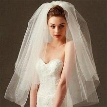 Мода свадебная фата простой белый слоновая кость тюль два слоя дешевые невесты свадебные аксессуары 75см женщин короткие фаты с расческой