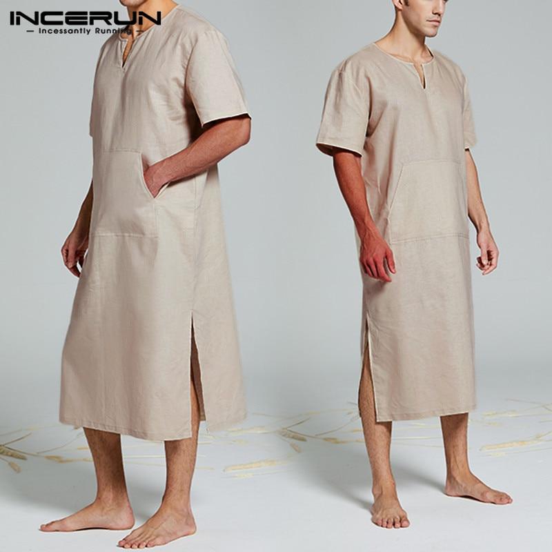 Homewear Men Solid Color Robes Pajamas Short Sleeve V Neck Fashion Comfort Cotton Big Pockets Nightgown Mens Bathrobe INCERUN