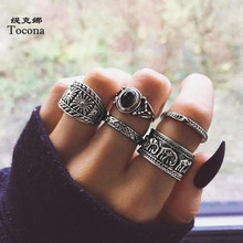 Tocona 5pcs/sets Black Rhinestore Width Ring Sets for Women 2002 Vintage Elephant Men Joint Rings Accessories кольца 6222