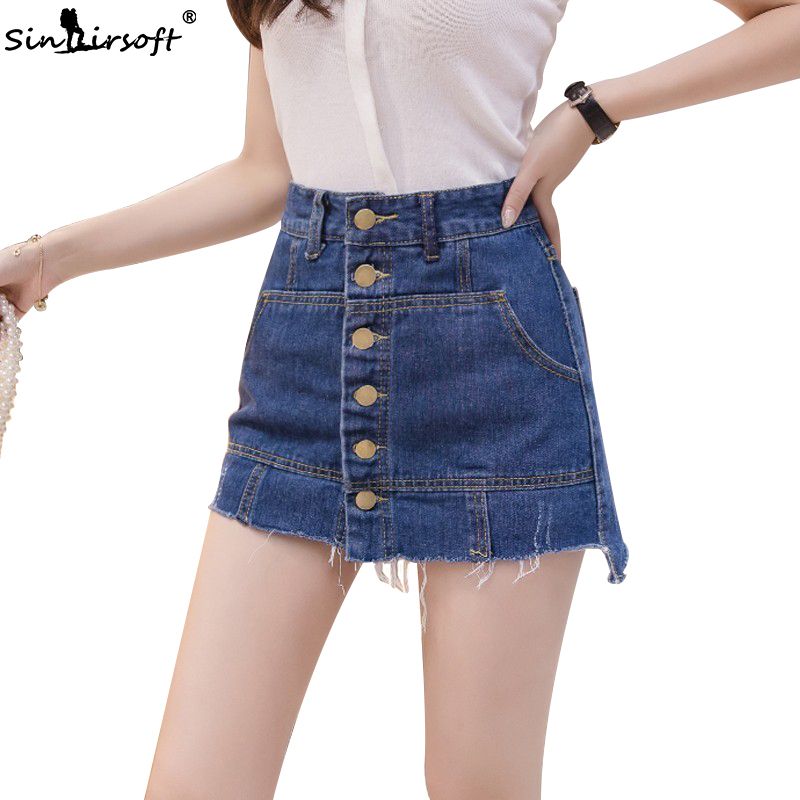Women Sexy Hot Mini Denim Skirts High Waist Buckle Burr Bodycon Jeans Skirt With Lining Ladies Chic New A Line Skirts Summer in Skirts from Women 39 s Clothing
