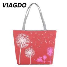 Bags Casual Bag Dandelion Handbag Zipper Woman Canvas Red/Blue/Beige/Purple Shoulder Print Large Versatile dandelion print tapestry