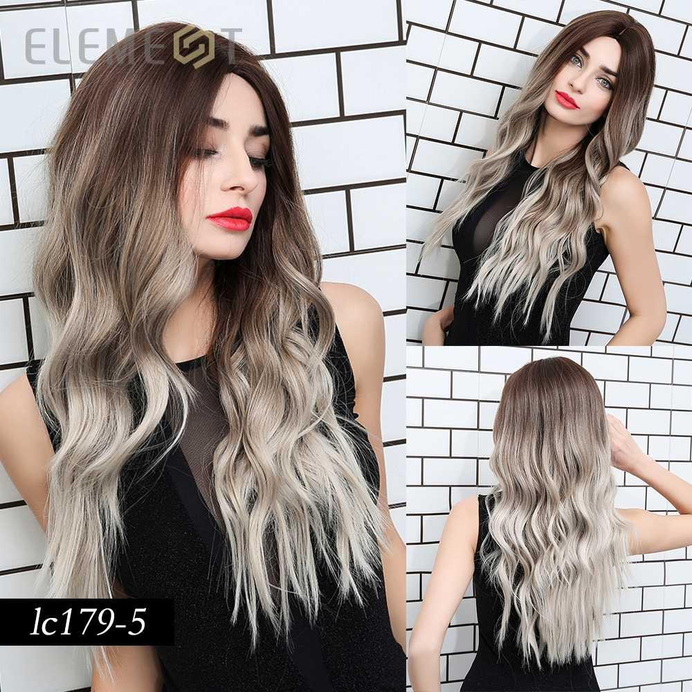 Element Synthetische Lange Natuurlijke Wave Haar Ombre Brown Blond Pruiken Voor Wit/Zwarte Vrouwen Party Of Dagelijkse Slijtage