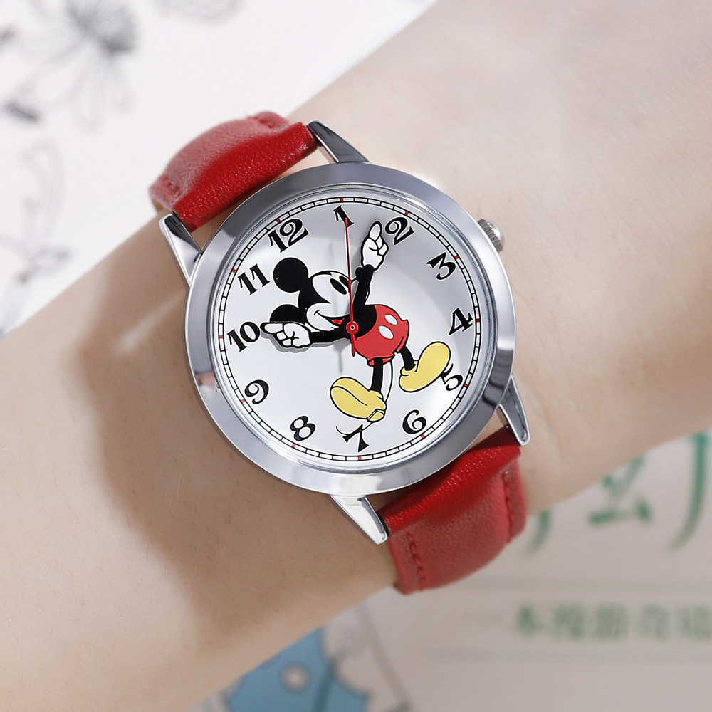 Top Brand Disney Original Mickey Mouse Teen Leather Quartz Waterproof Wrist Watch Youth Men Student Fashion Classic Watches Gift