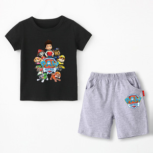 Image 3 - Paw patrol New 2019 Girls Baby Clothing spring  summer Breathable cotton T shirt childrens short sleeve suit childrens wear