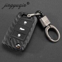Carbon Siliconen Key Case Cover Voor Vw Polo Golf 7 Tiguan Skoda Octavia Karoq Seat Ateca Leon Ibiza Sleutelhanger Key ring 2015 2019