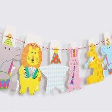 Вечерние баннеры в полоску с милыми животными для маленьких детей на день рождения
