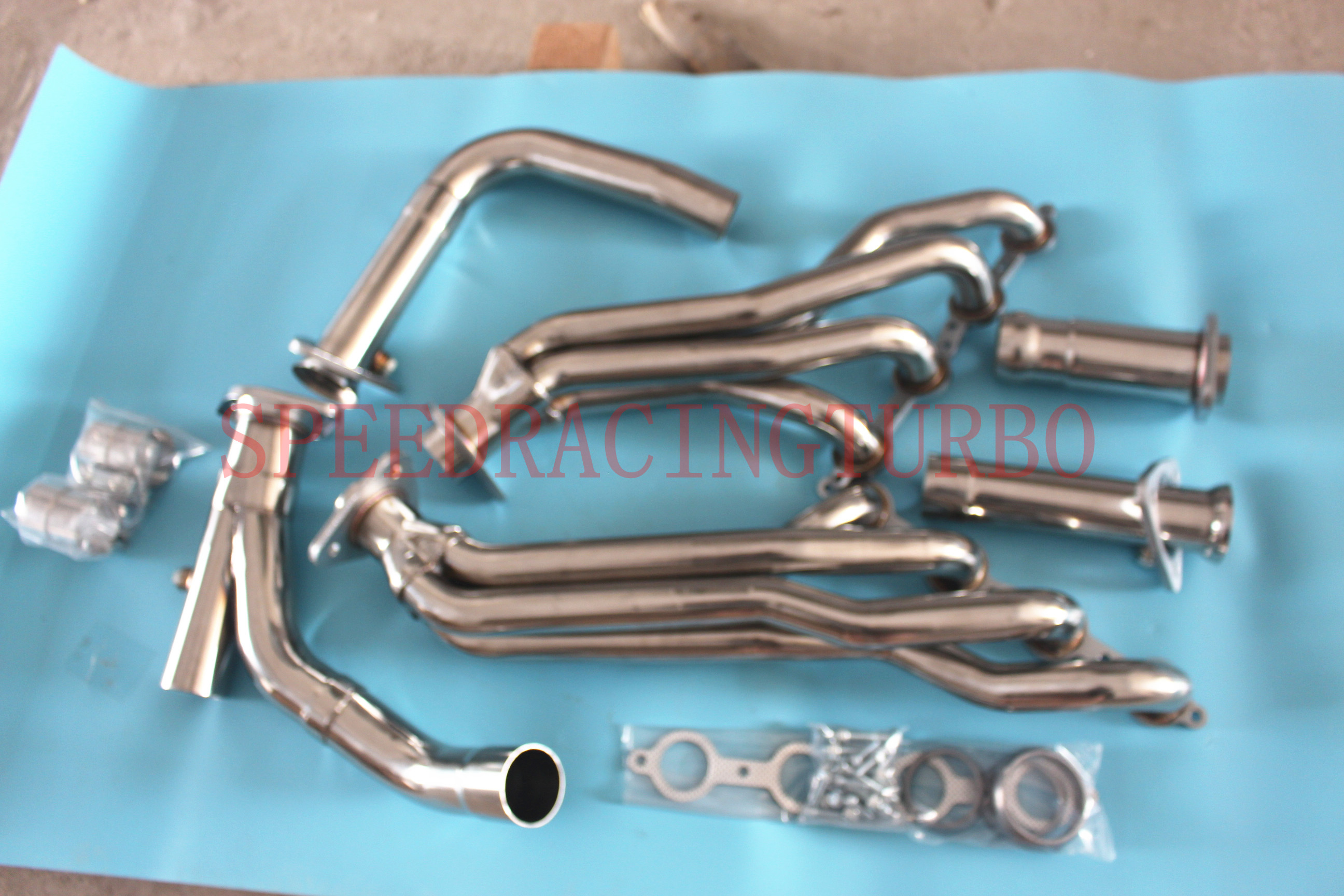 EXHAUST HEADER FOR CHEVY/GMC GMT900 4.8/5.3/6.0+Y-PIPE STAINLESS STEEL LONG TUBE  STAINLESS STEEL ONE PAIR MID X PIPE