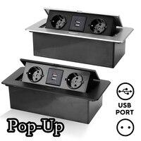 Presa da tavolo spina ue 2/3 prese elettriche pannello da tavolo nascosto con ricarica USB coperchio Pop-Up lento per ufficio sala riunioni