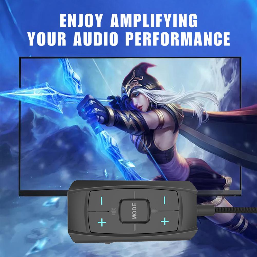 INWA ExternalUSB to 3.5mmAUXSound Card 7.1 Adapter 3D Antimagnetic Audio Headset Microphone Jack For Laptop PC/PS4/PS5