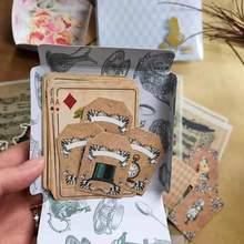 51 pçs retro bonito anime alice série poker kraft tag flamingo cartão do vintage etiqueta planejador diy scrapbooking diário deco adesivos