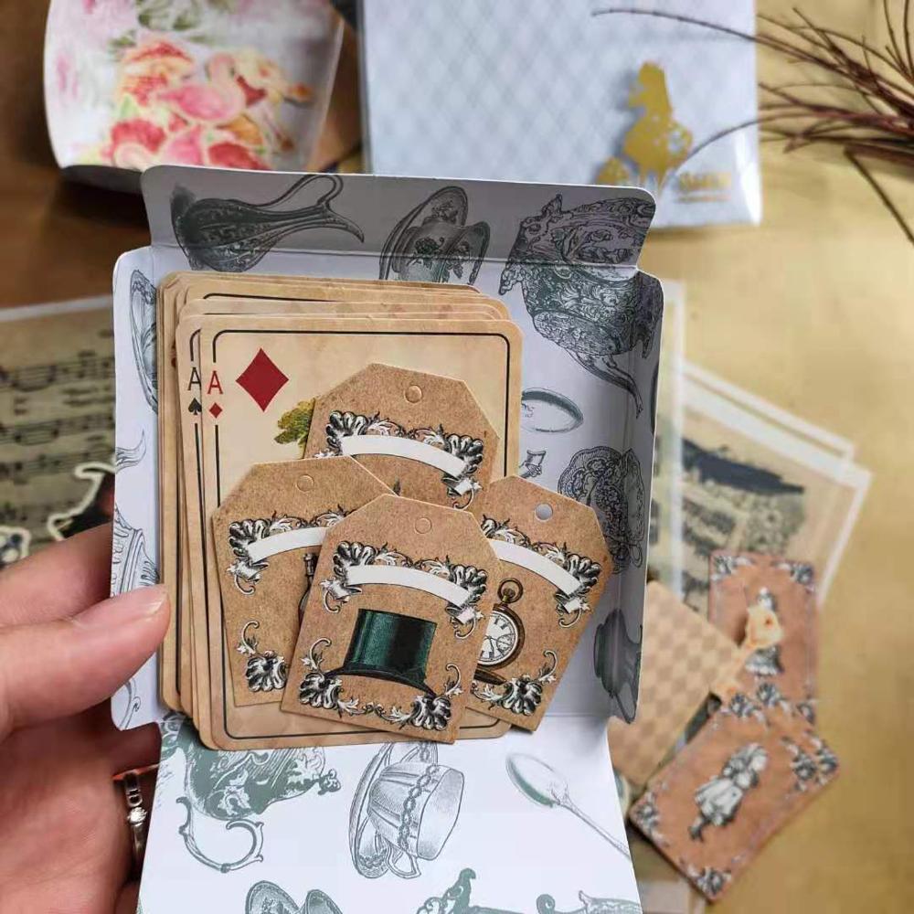 51 Sheets Retro Cut Anime Alice Series Poker\Kraft Tag\Flamingo\Envelope Vintage Flower Planner DIY Card Bullet Journal Deco