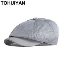 Top Level Breathable Mesh Newsboy Caps for Men Summer Gorras Hombre Boinas Beret Hats Fashion Casual Flat Cap Women Gatsby Hat
