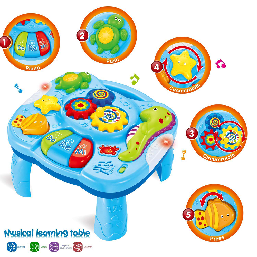 Toddlers Safe Play Colorful Funny Gift Light Music Game Learning Table Activity Sea Animal Early Education Infants Baby Toy