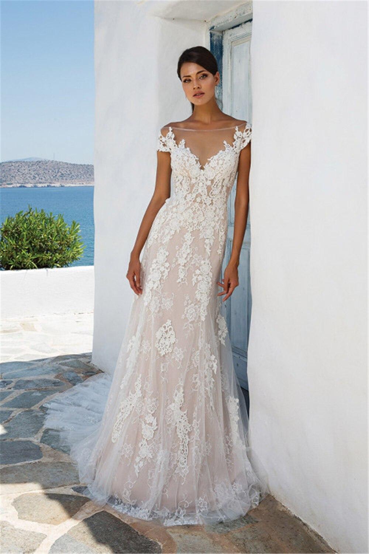 Exqusite Ivory Wedding Dresses Scoop Off The Shoulder Handworks Appliques Sheath Tulle Dropped Vestidos De Novia Wedding Gow