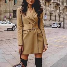 2019 Bow Tie Winter Blazer Dress Women High Fashion Solid Elegant Short Feminino Slim Fit Retro Dresses Vestidos