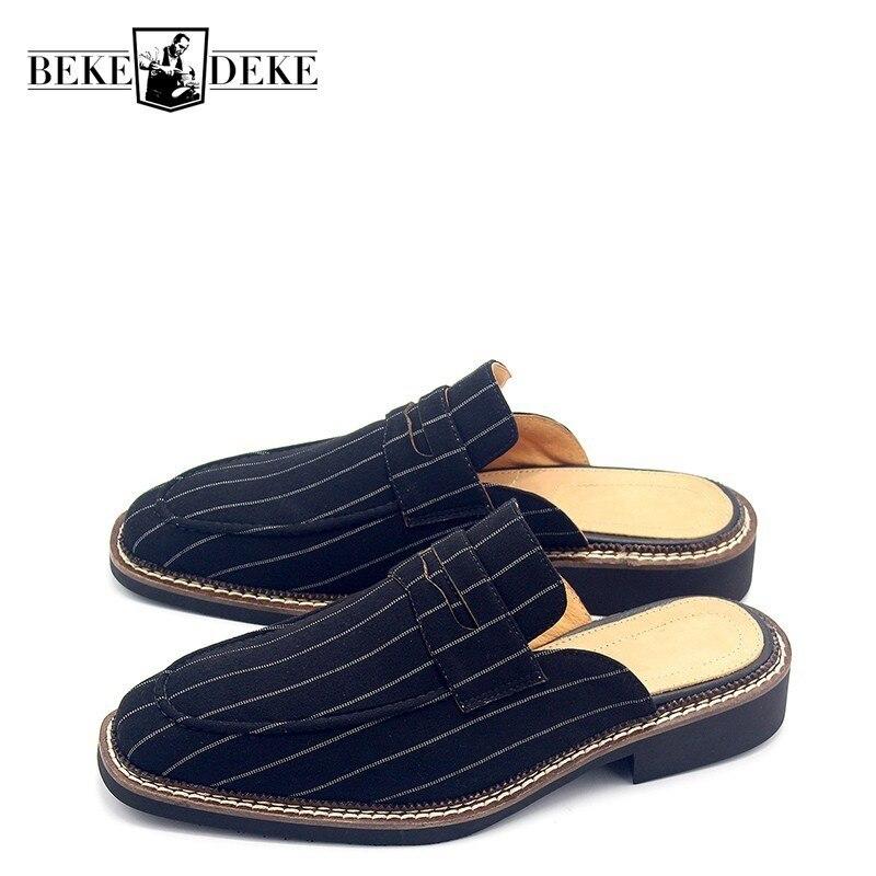 High Qualtiy Fashion Striped Slip On Mens Canvas Half Shoes Square Toe Breathable England Buty Meskie Low Heel Sandals Plus Size